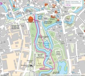 Meine Laufstrecke im Bürgerpark. Screenshot: BSM