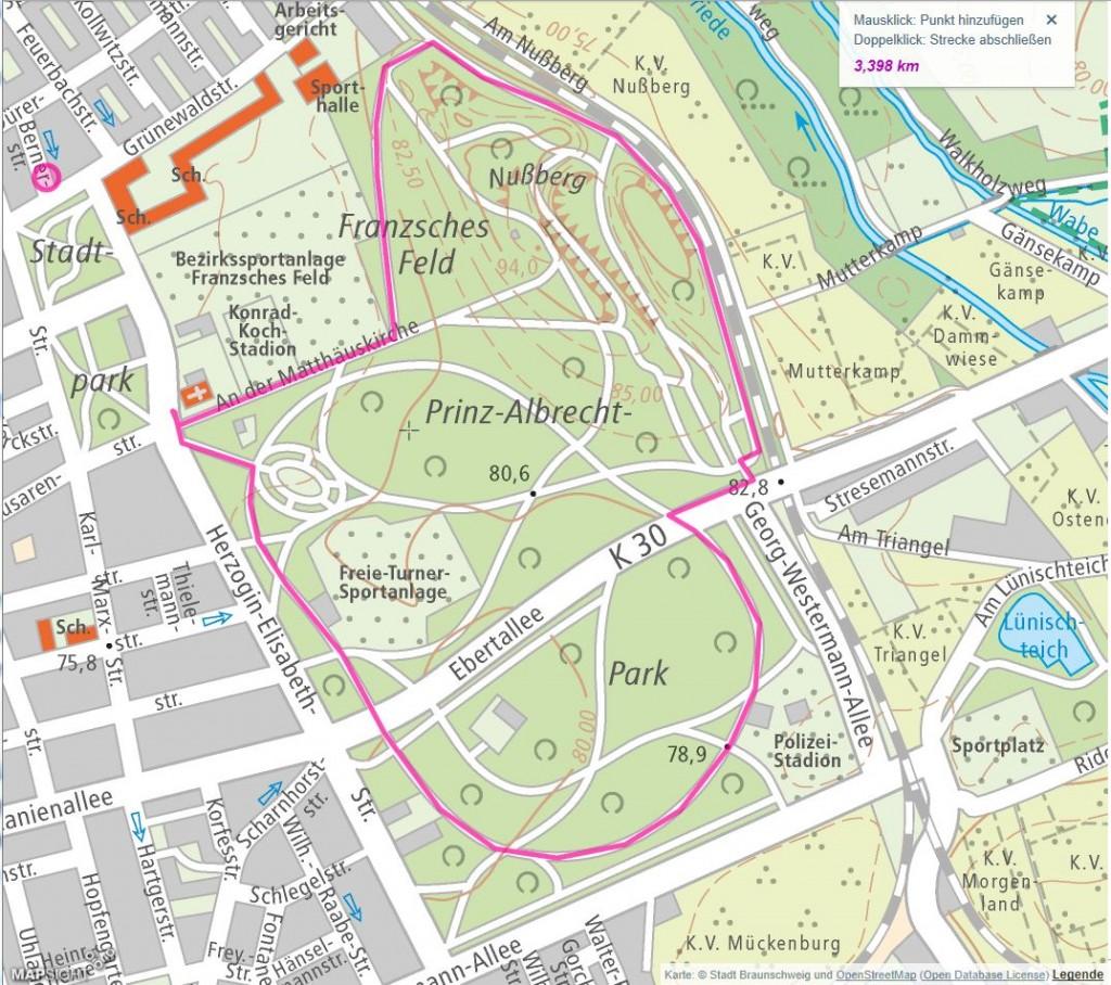 Im Prinz-Albrecht-Park lässt sich die Strecke beliebig variieren. Screenshot: BSM
