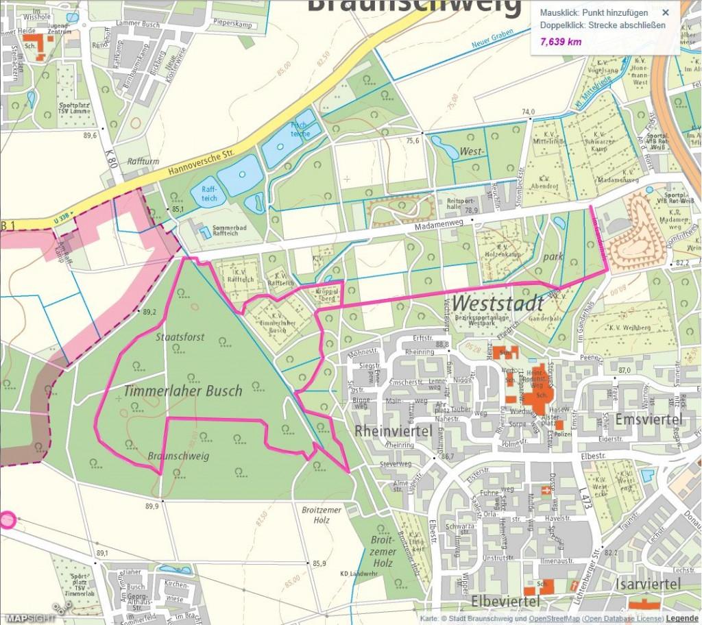Auch die Strecke im Westpark eignet sich für geübte und weniger geübte Läufer. Screenshot: BSM