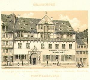 Das ehemalige Mummehaus am Bäckerklint, 1944 zerstört (Quelle: Stadtarchiv Braunschweig, H XVI: A II 27)
