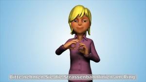 Ein Avatar übermittelt die Informationen in Zeichensprache. Foto: Sign Time GmbH