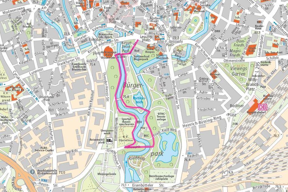 Spaziergang mit Erfrischung auch für Frauchen und Herrchen: die Runde durch den Bürgerpark. Screenshot: www.braunschweig.de
