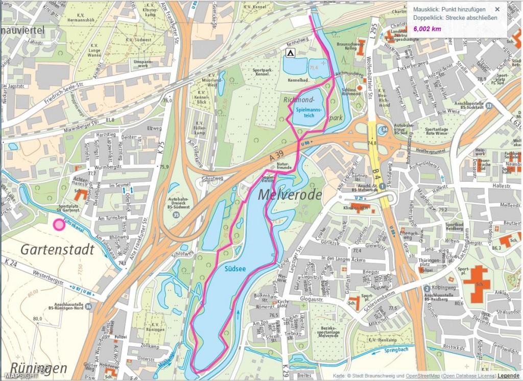 Die Route startet am Kennelbad und führt um den Südsee herum. Screenshot: www.braunschweig.de