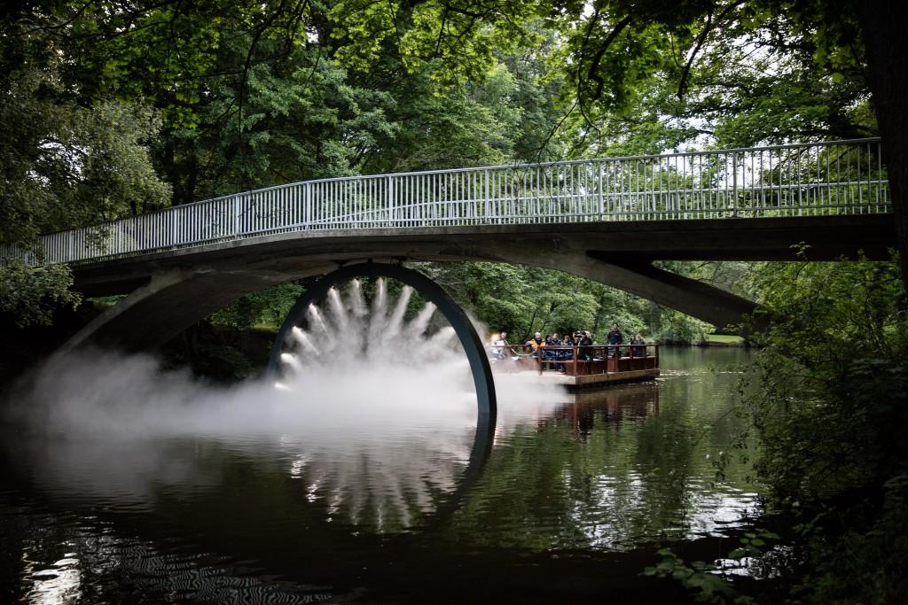Nebel und Licht lassen unter der Drachenbrücke ein Auge entstehen. Foto: BSM/Marek Kruszewski