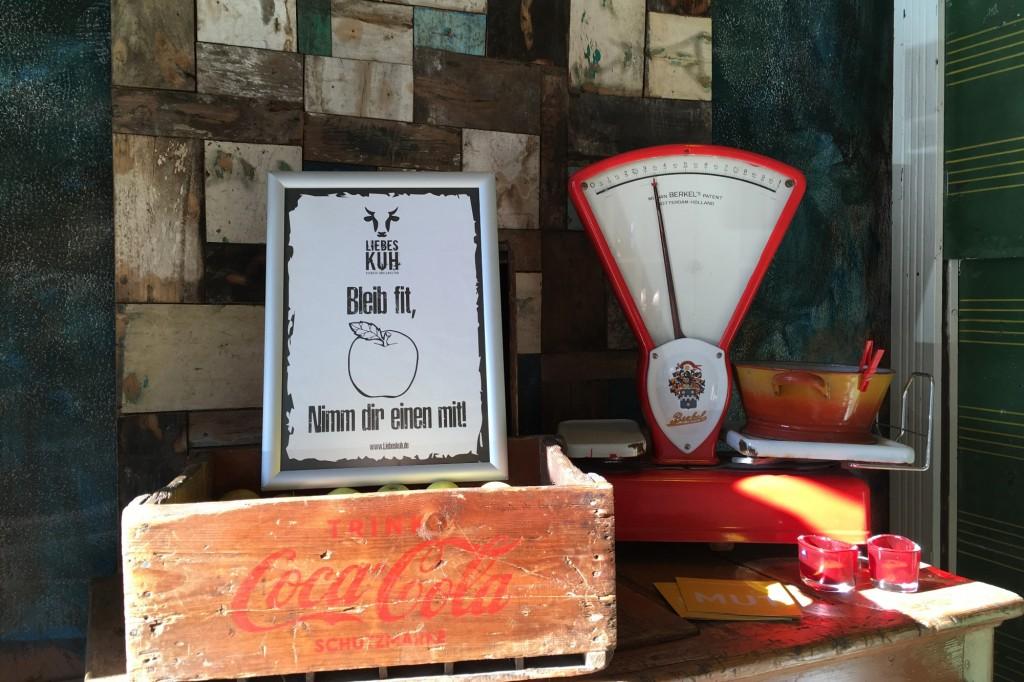 Apfelkiste im Restaurant Liebeskuh