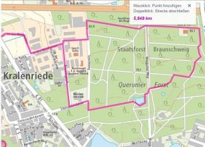 Strecke durch den Querumer Forst. Foto: Screenshot des Stadtplans www.braunschweig.de