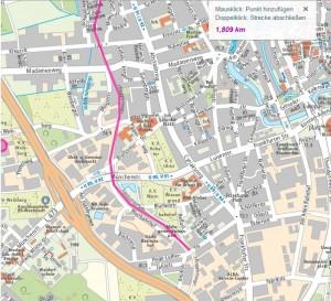 Anfang der Strecke entlang des historischen Ringgleises. Foto: Screenshot des Stadtplans www.braunschweig.de