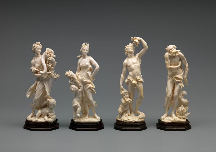 Endlich wieder vereint: Die Vier Jahreszeiten in Elfenbein von Balthasar Permoser. Foto: C. Cordes, HAUM