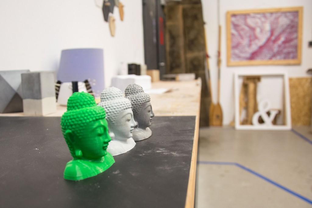 Diese drei Buddha-Köpfe entstanden im Protohaus. Foto: BSM