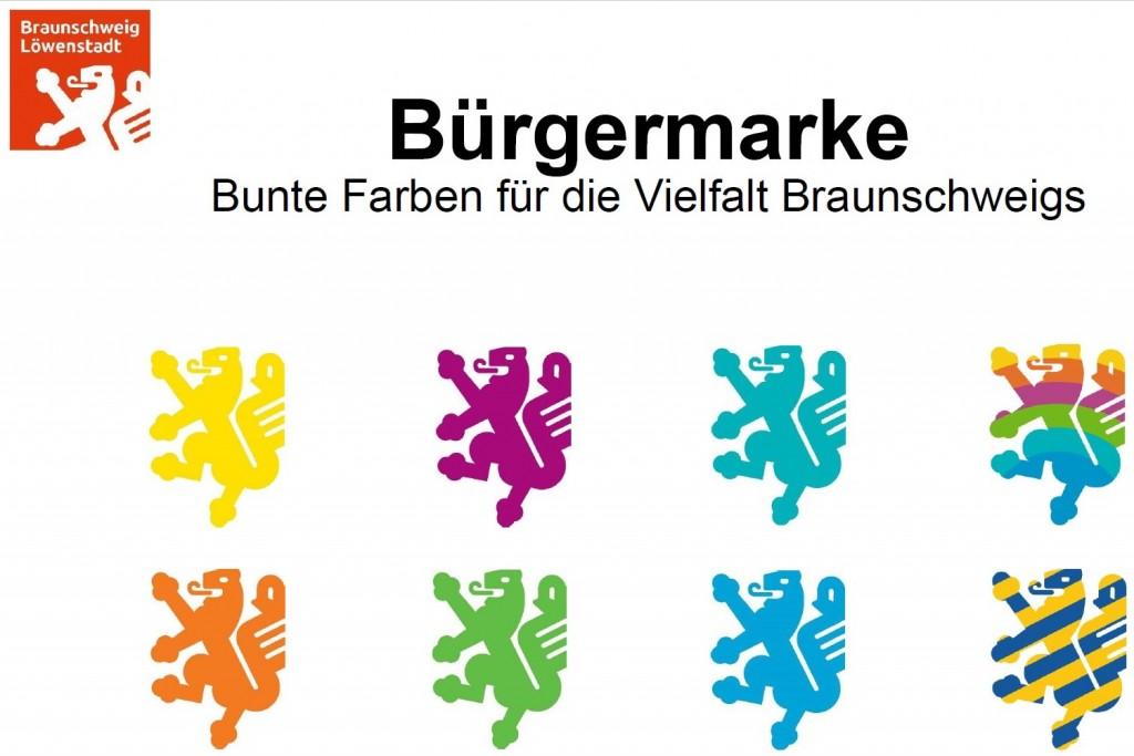 Löwenlogo für alle: Die neue Bürgermarke in den verschiedenen Farben. (Nachweis: Braunschweig Stadtmarketing GmbH)