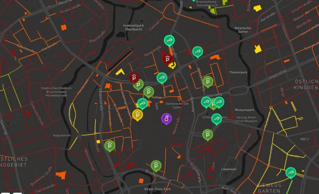 Aus den Mobilitätsdaten von mobilen Geräten der Nutzer lässt sich eine Parkkarte erstellen, die statische und dynamische Parkplatzdaten in Echtzeit anzeigt. Grafik: AIPARK