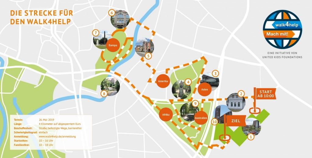 Der Weg um die Welt führt vom BraWoPark über Viewegs Garten zum Löwenwall und wieder zurück zum BraWoPark. Grafik: UnitedKidsFoundations