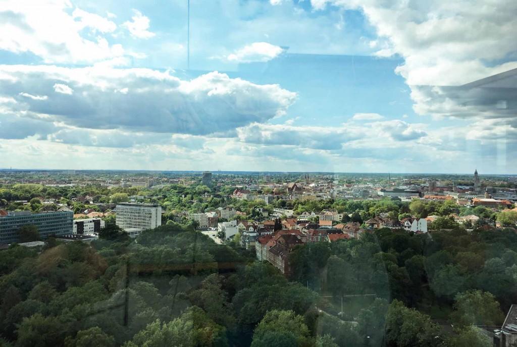 Ausblick von der Dachterrasse des Restaurant Überland. Foto: BSM