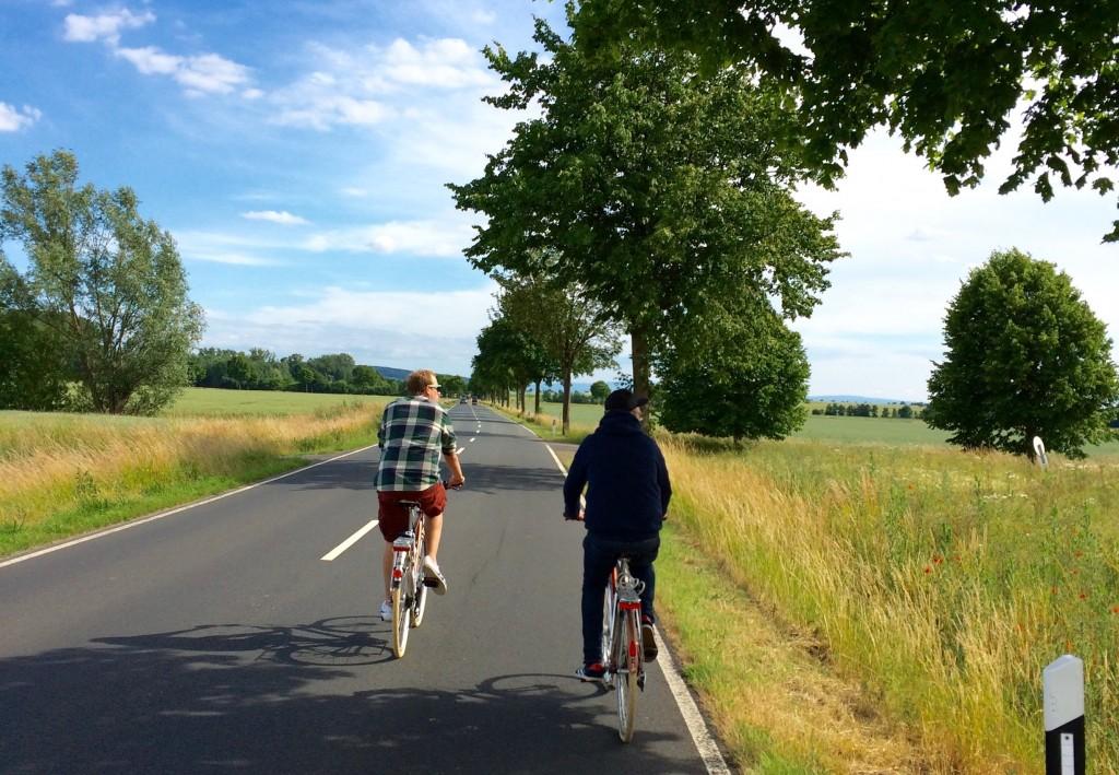 Radfahren über Landstraßen: Zwei Radler auf einer geteerten Straße, an den Straßenrändern grüne Bäume und Felder.