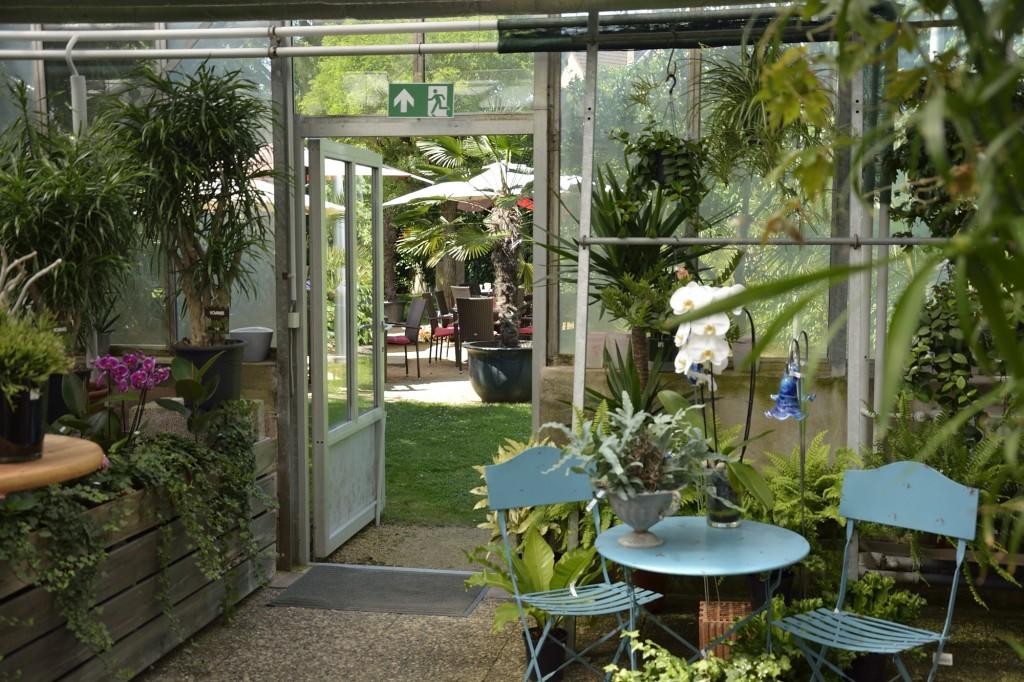 Blick aus dem Café Flora in den Garten.
