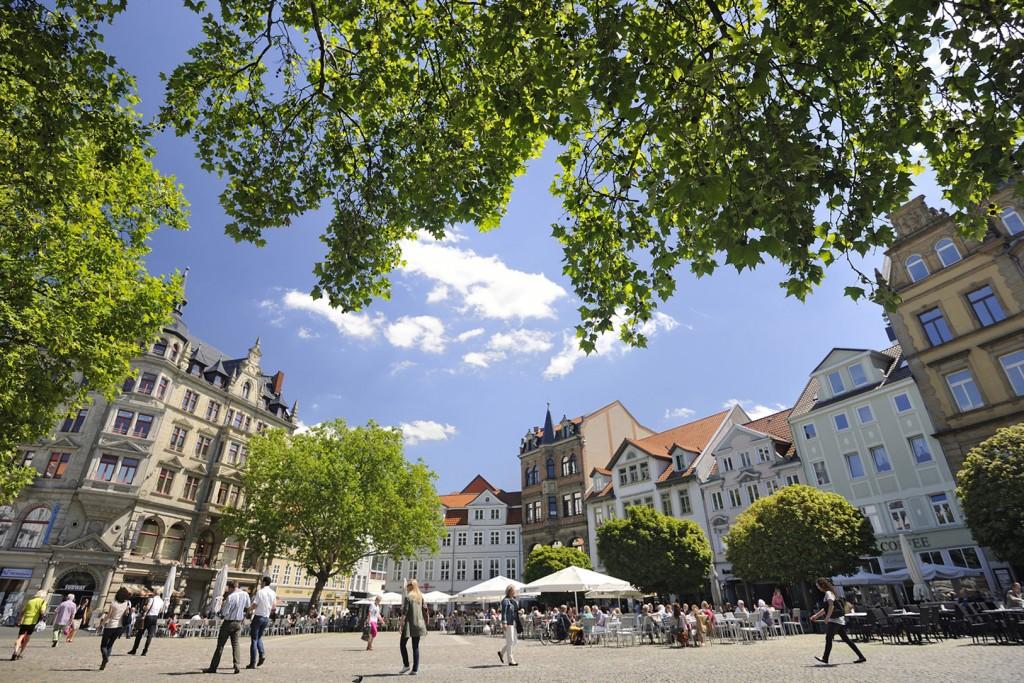 Der sommerstadtgarten verwandelt den Kohlmarkt in eine grüne Oase.
