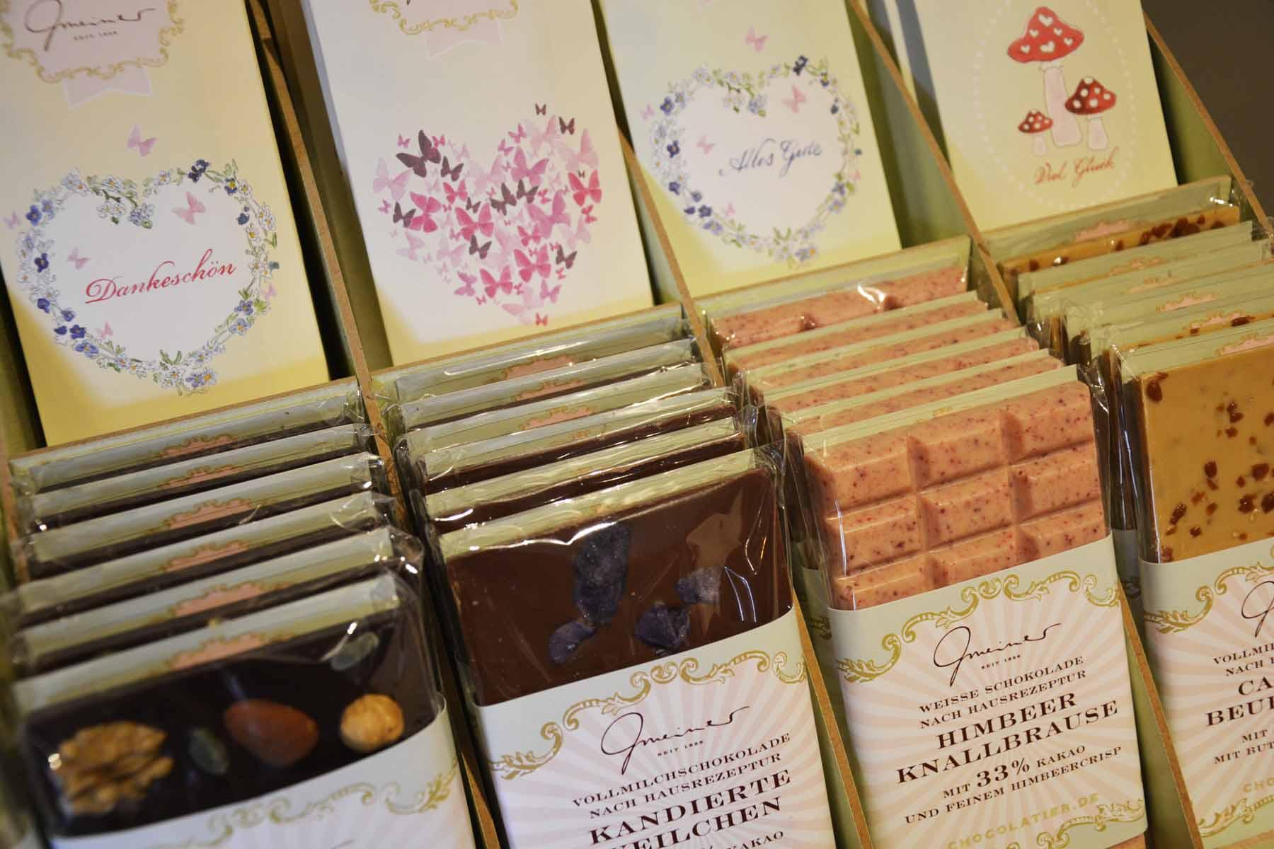 Auswahl von Gourmet-Schokoladen