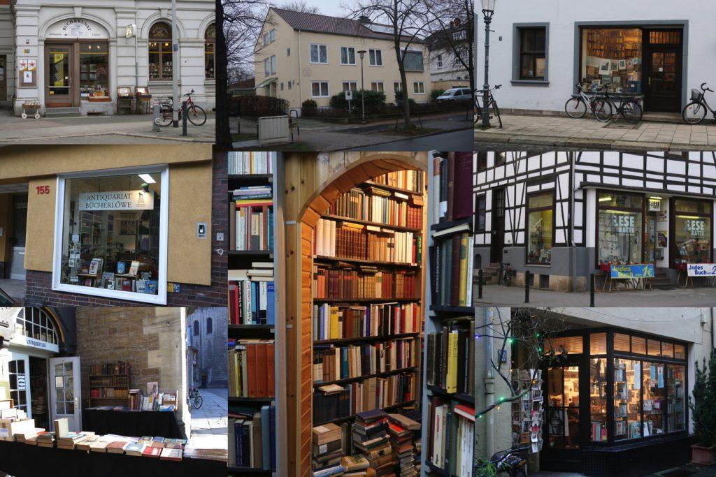 Collage aus verschiedenen Eingangstüren zu Antiquariaten.