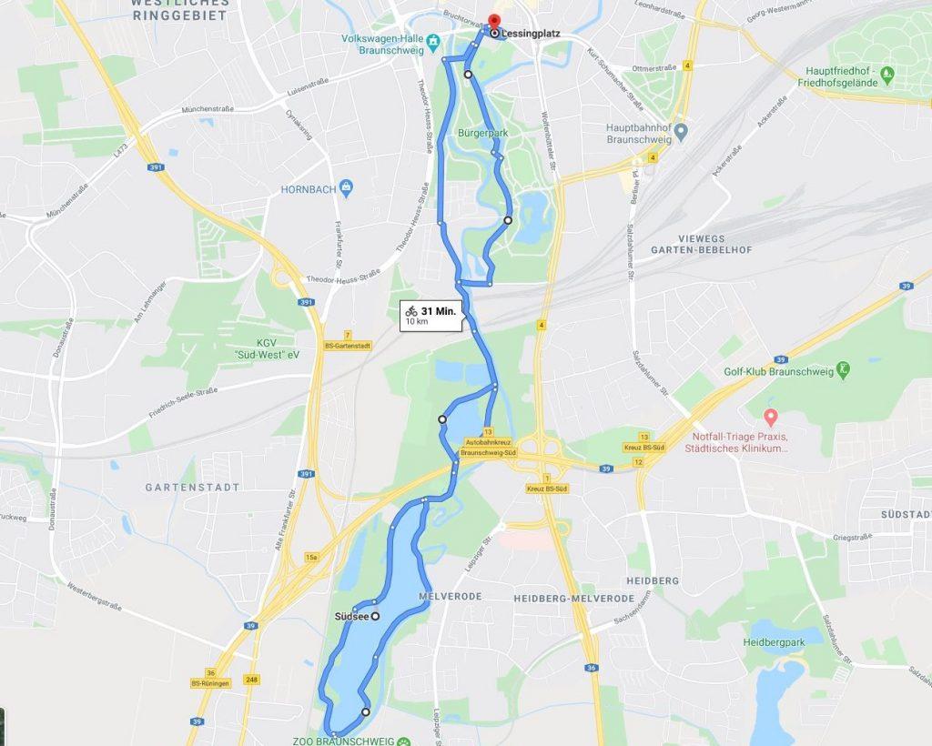 Kartenausschnitt mit eingezeichnetem Weg vom Lessingplatz durch den Bürgerpark und das Kennelgebiet um den Südsee herum und zurück.