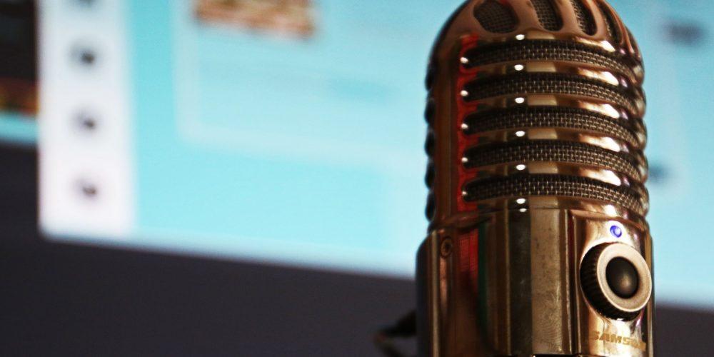 Ein Mikrofon steht vor einem Computerbildschirm.