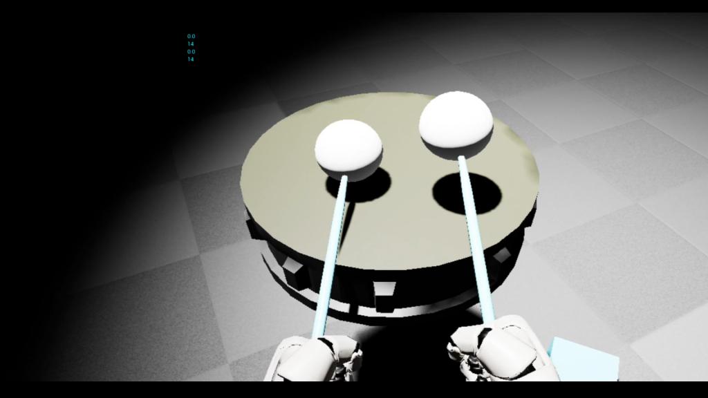 Zwei Roboterhände halten zwei virtuelle Schlagstöckeln über eine virtuelle Trommel.