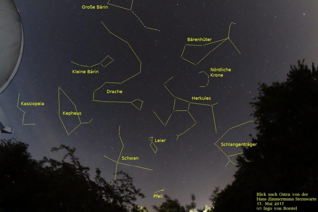 Ein Blick in den Sternenhimmel. Auf dem Bild sind die Sternenbilder markiert: Ursa Major, Ursa Minor Cassiopeia, Cepheus, Draco, Cygnus, Lyra, Sagitta, Bootes, Hercules, Corona Borealis, Ophiuchus.