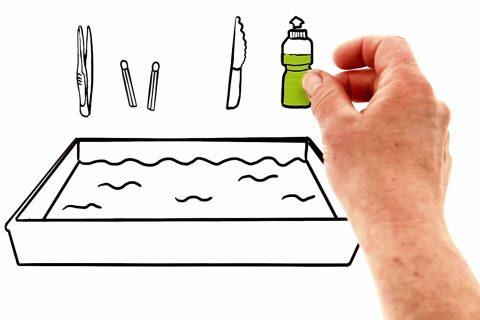 Eine Hand greift nach einer gezeichneten Spülmittelflasche